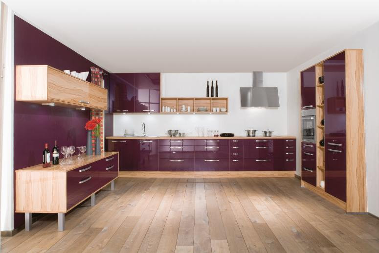 Modern Kitchen Designs from Bauformat ? Purple Modern Kitchen Design