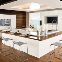 Sober Wooden Floored White Kitchen Design