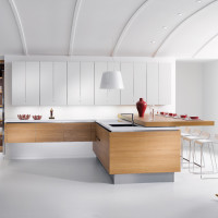 Spacious White Apartment Kitchen Design