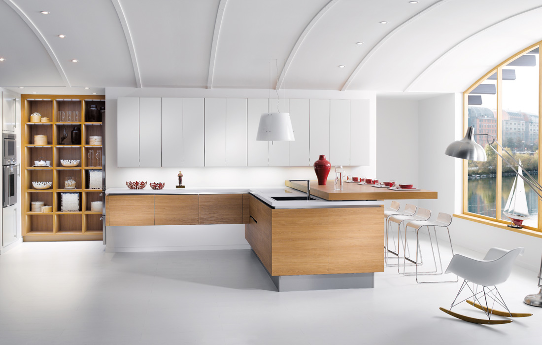 ... Kitchen Designs from Perene » Spacious White Apartment Kitchen Design