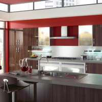 Walnut Gloss Kitchen Design