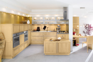 Wooden Kitchen with Flowers