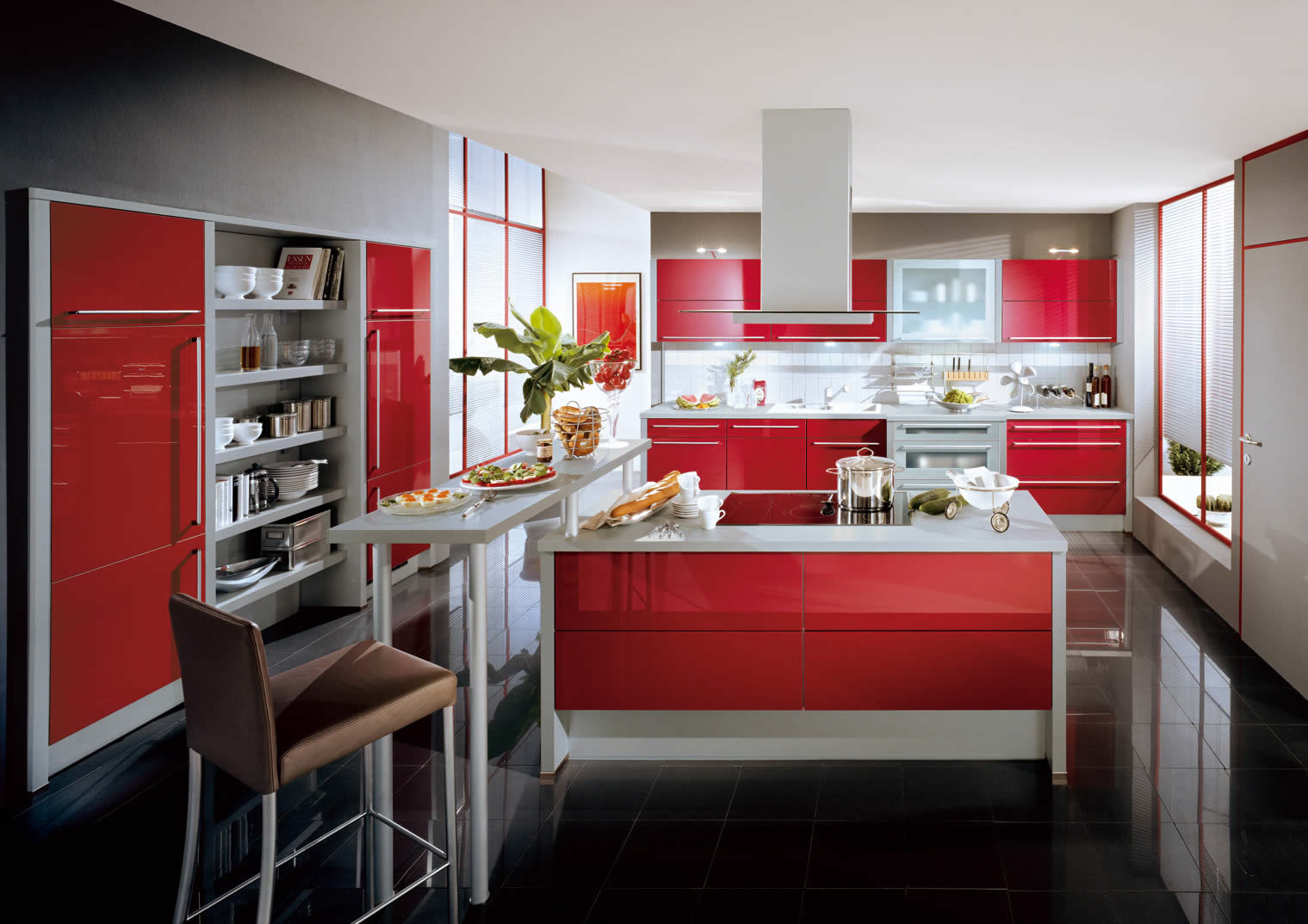 Kitchen Designs from Kutchen Haus ? Xeno Red Ultra High Gloss Kitchen
