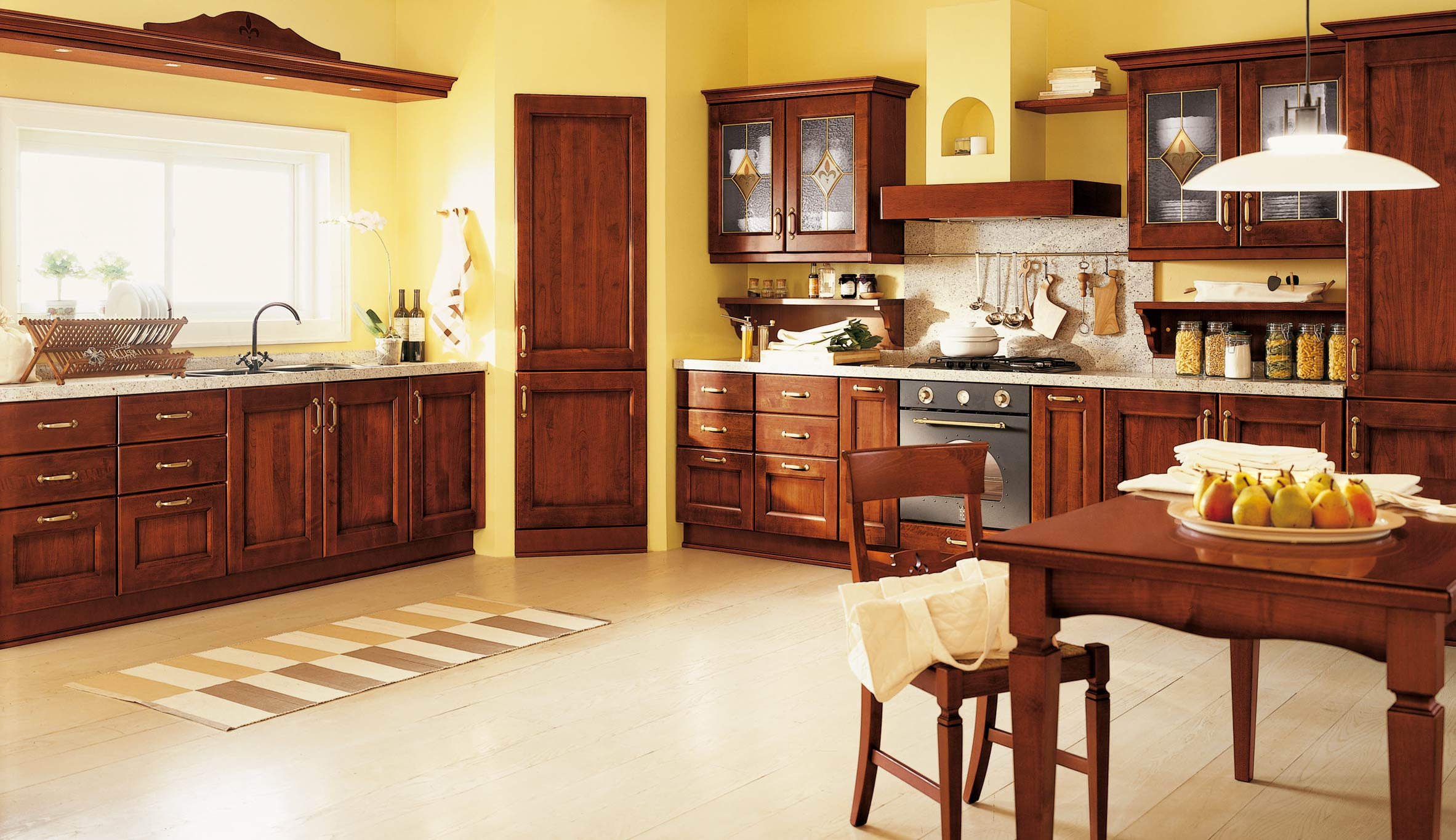 Brown yellow daniela kitchen design for Kitchen ideas brown cabinets