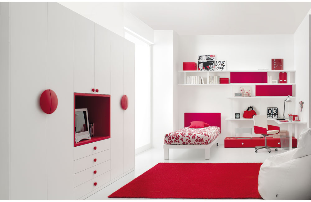 bedroom designs by tumidei red and white teen bedroom concept 1