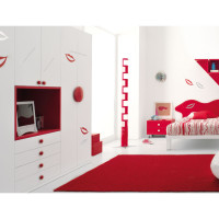 Red and White Teen Bedroom Concept -2