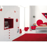 Red and White Teen Bedroom Concept -3