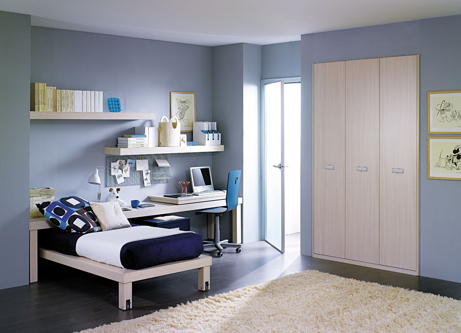 Sky Blue Teen Bedroom Design