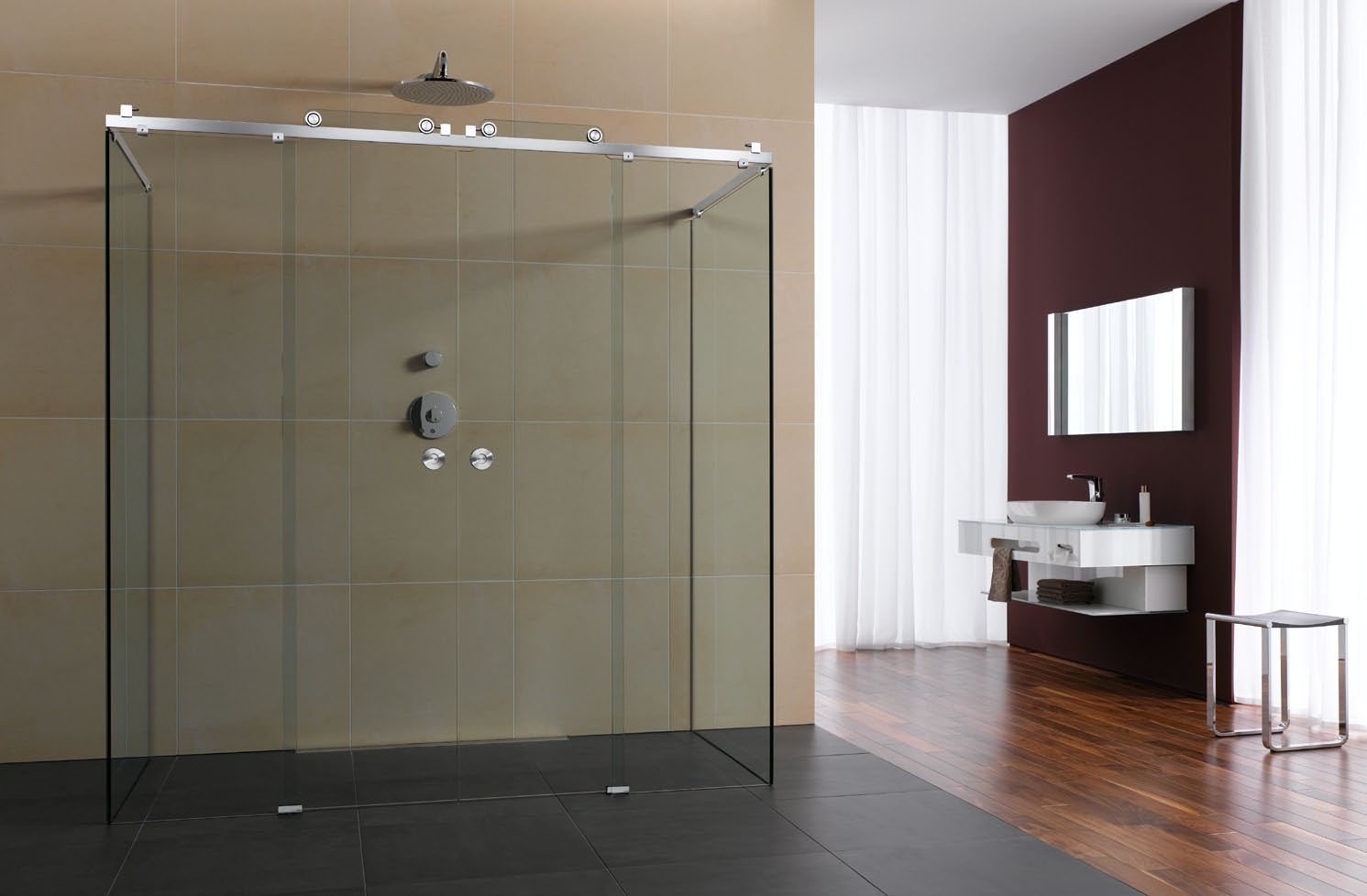 Claro square shower enclosure 01 for Bathroom enclosure designs