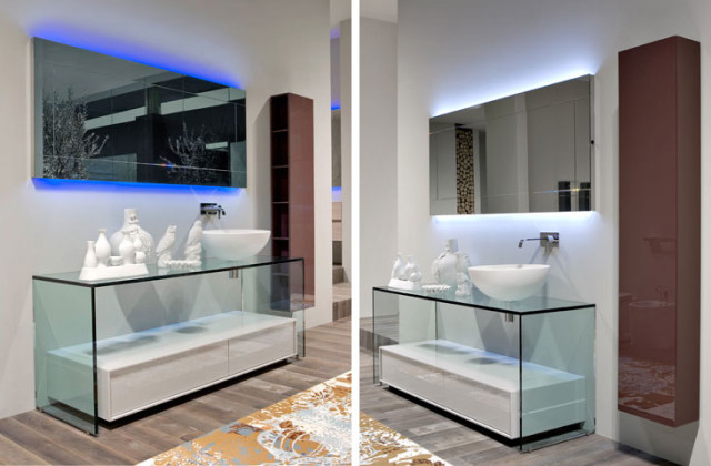 Contemporary Glass Bathroom Vanities - 1