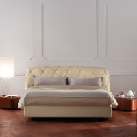 Capitone Headboard Base Bed Flair 02 by Poltrona Frau