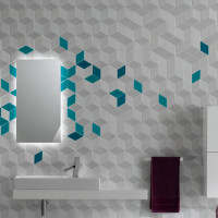 Cube Tiles Collection White & Cyan