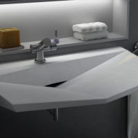 Diamond solid surface sink design for modern bathroom