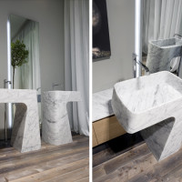 Bathroom Sinks – Carrara Marble Washbasin Pipa by Antonio Lupi