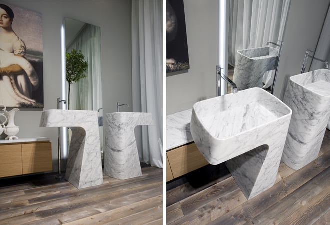 Free Standing PIPA marmo di Carrara Marble Sink