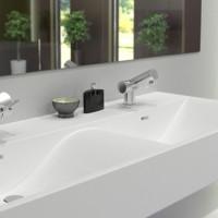 Linea 120 solid surface sink design for modern bathroom