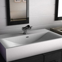 Linea 80 Solid surface sink design for modern bathroom