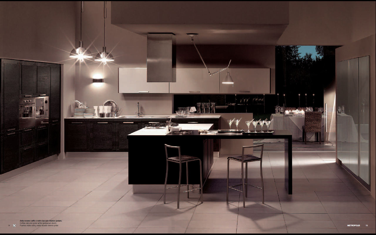 Metropolis modern kitchen interior decor for Contemporary kitchen art decor
