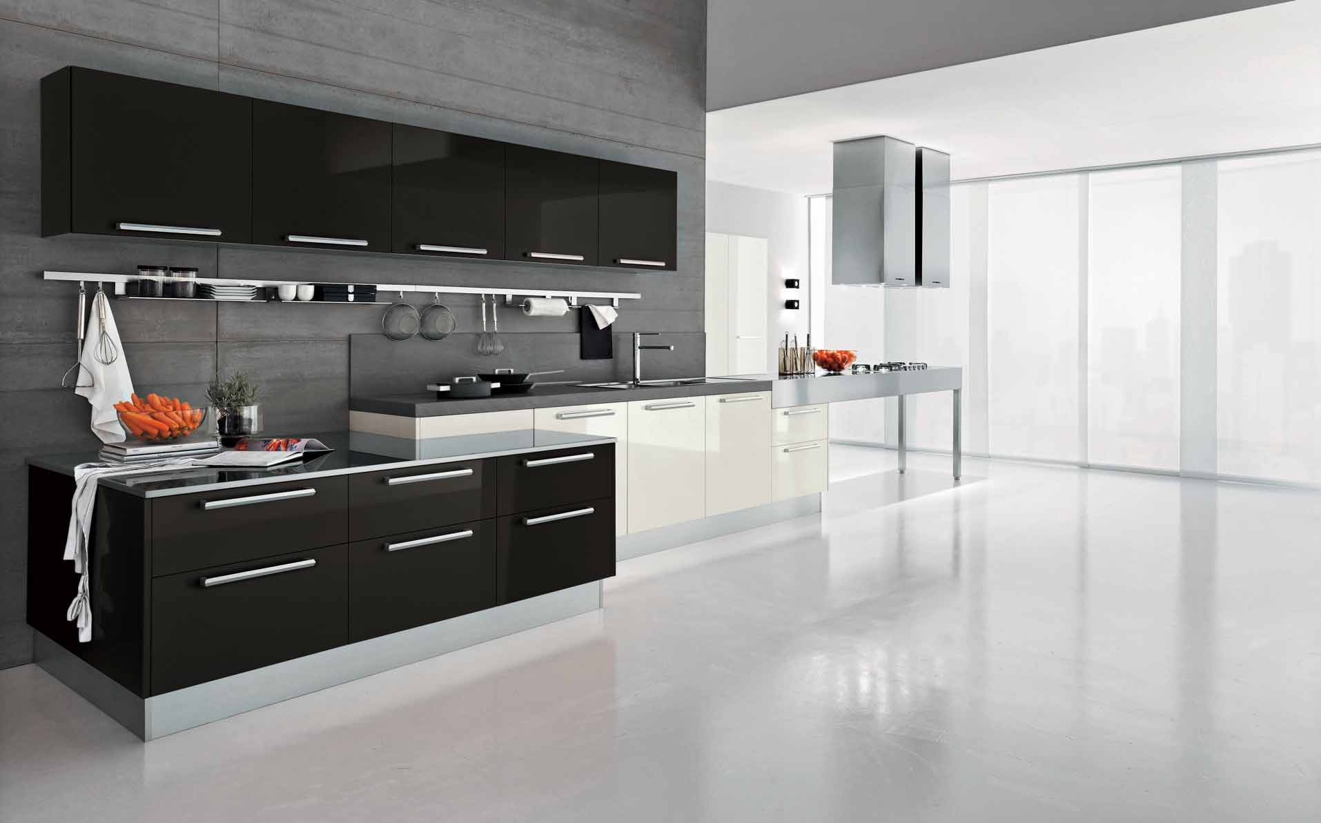 Modern Dark Wave Kitchen Design   StyleHomes.net
