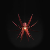 Stained Red Iris Pendant Light