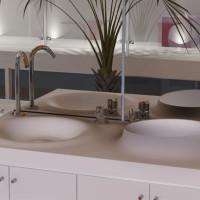 Volkeo 120 solid surface sink design for modern bathroom