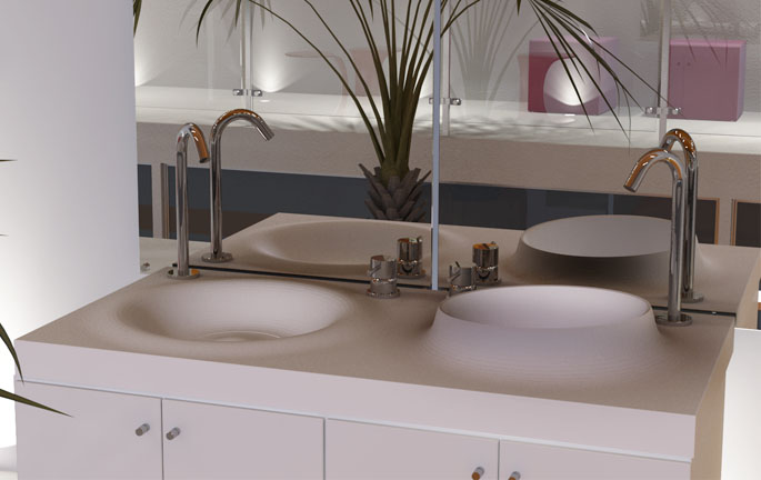 volkeo 120 solid surface sink design for modern bathroom - Doubles Vasques Design