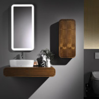 Contemporary Dark Walnut Bathroom Furniture by Toto