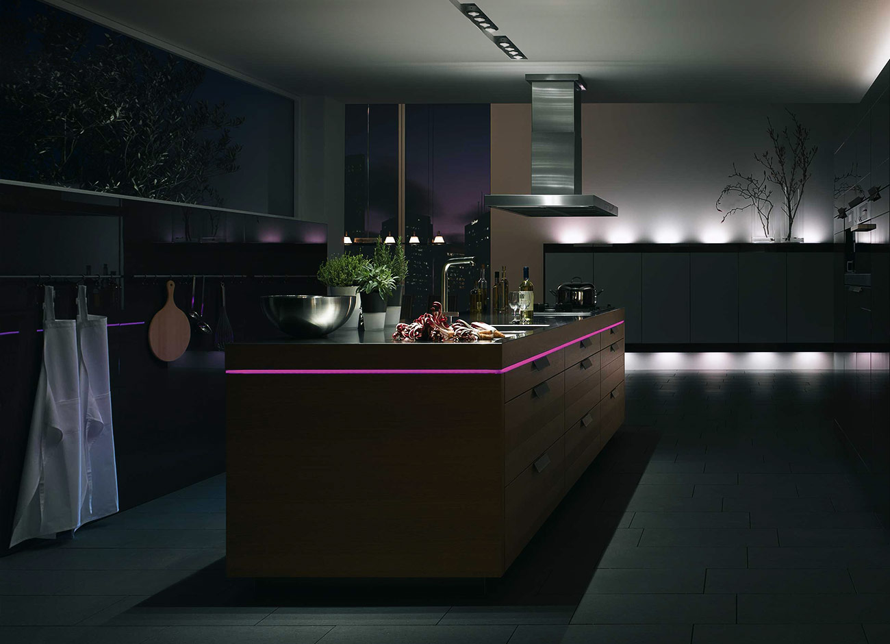 Kitchen design with mood lighting for Designing with light