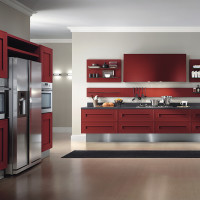 Red Painted Kitchen Cabinets by Composit