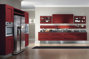 Dramatic Red Melograno Kitchen Design 01