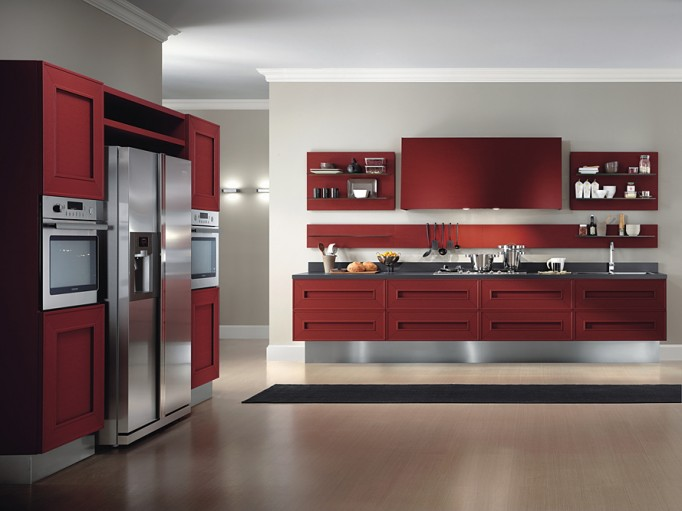 red painted kitchen cabinets by composit italy kitchen designs
