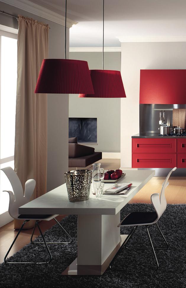Dramatic Red Melograno Kitchen Design 02
