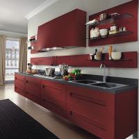Dramatic Red Melograno Kitchen Design 04v