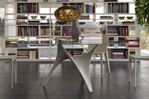 Modern Round Glass Dining Table Molteni Arc-01