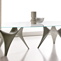 Modern Round Glass Dining Table Molteni Arc-05
