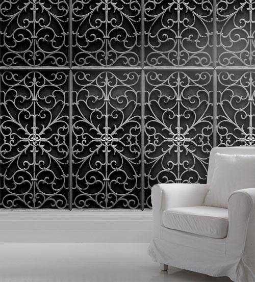 black wrought metal gate wallpaper mineheart
