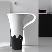onda decor black basin cup