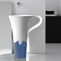 onda decor blue basin cup