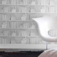 white bookshelf and chair wallpaper mineheart