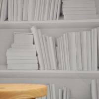 white bookshelf paper close mineheart