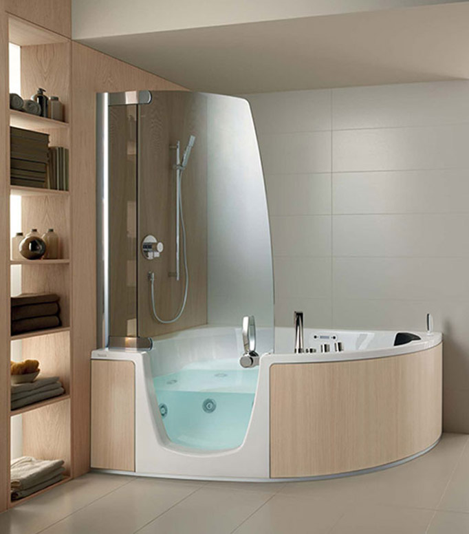 cool comfort corner whirlpool shower combo by teuco bath styles 2014 bath shower combo