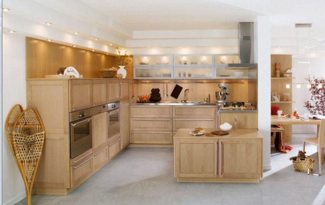 modern kitchen with built in oven