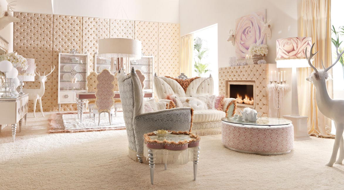 Luxurious Baby Pink And White Living Room Interior